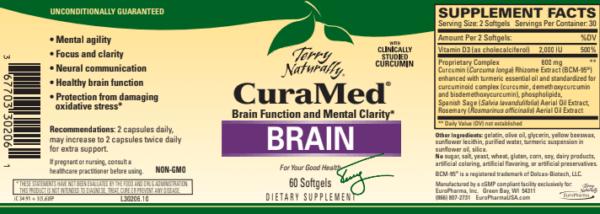 Curcumin-supplement-curamed-brain-60-softgels-label