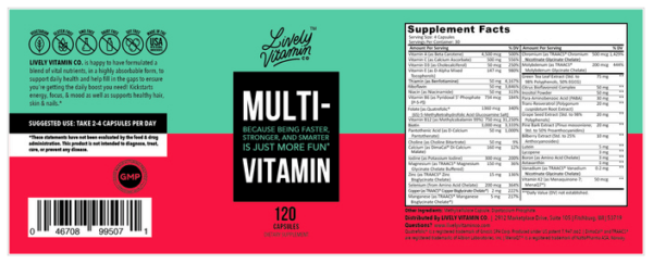 Lively Vitamin Co. Multivitamin 120 capsules The Healthy Place Madison WI