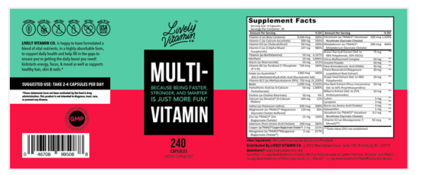 Lively Vitamin Co. Multivitamin 240 capsules The Healthy Place Madison WI