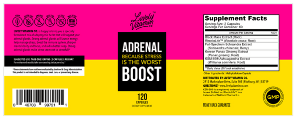 Lively Vitamin Co. Adrenal Boost The Healthy Place Madison WI