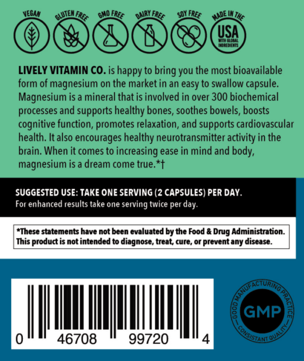 Lively Vitamin Co. Magnesium Ease label