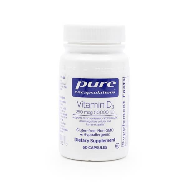 Pure Encapsulations Vitamin D3 250mcg (10,000 IU) The Healthy Place Madison WI