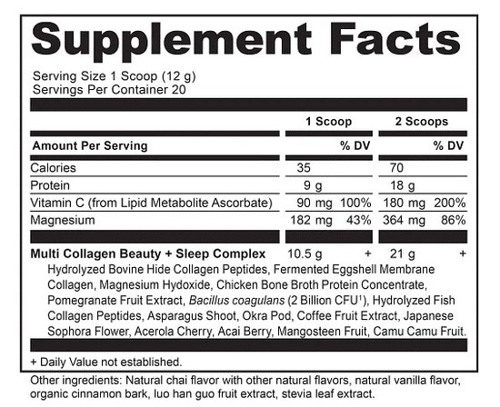 Ancient Nutrition Multi Collagen Protein Beauty + Sleep Vanilla Chai The Healthy Place Madison WI