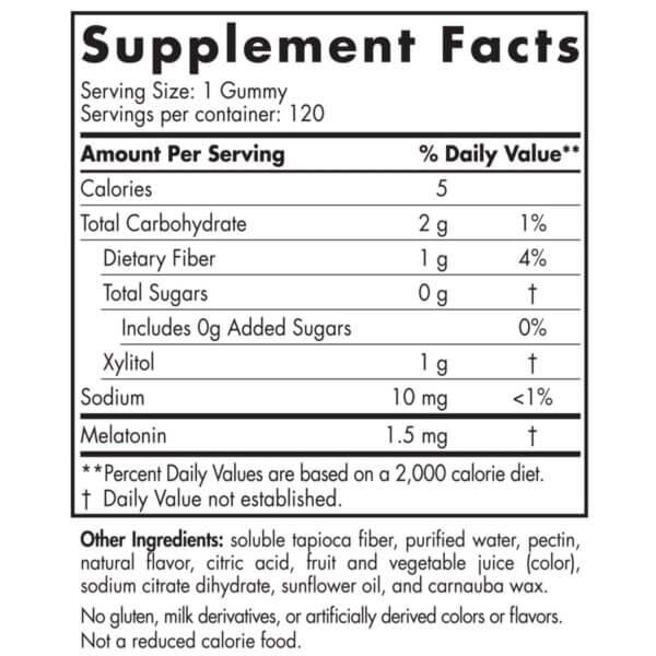 Nordic Naturals Melatonin Gummies supplement facts