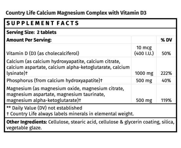 Country Life Calcium Magnesium Complex with Vitamin D3