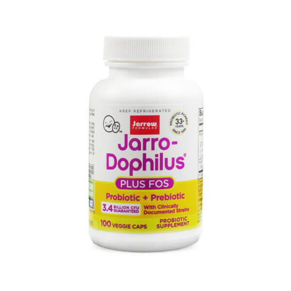 Jarrow Formulas Jarro-Dophilus + FOS prebiotic probiotic for GI naturally improve digestion vegetarian health food store madison wi