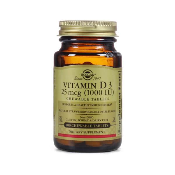 Solgar Vitamin D3 (Cholecalciferol) 25mcg (1000 IU) Chewable Tablets the Healthy Place Madison WI