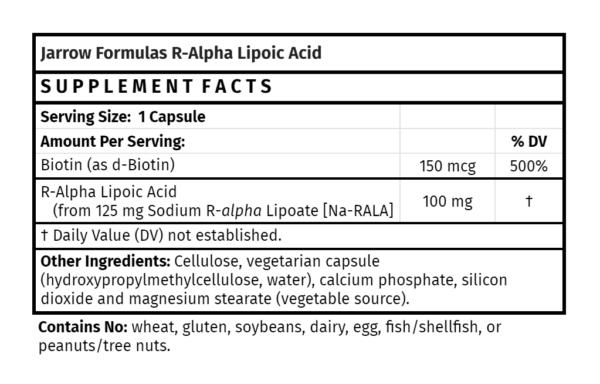 Jarrow Formulas R-Alpha Lipoic Acid for skin health food store madison wi antioxidant supplement