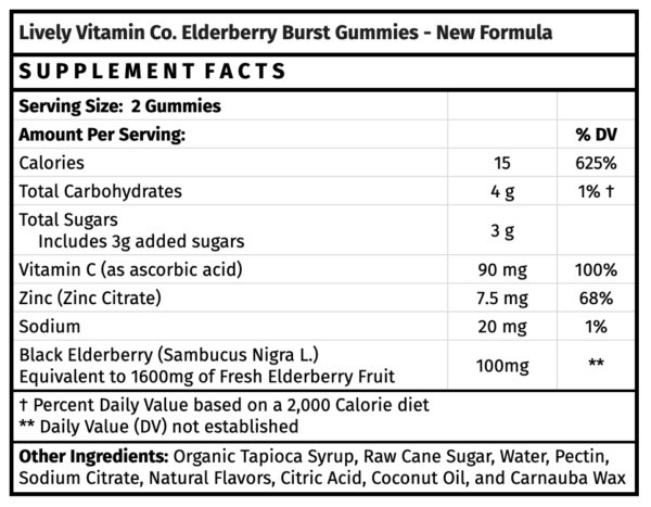 Lively Vitamin Co. Elderberry Burst gummies immune boosting gummies health food store madison wi the healthy place