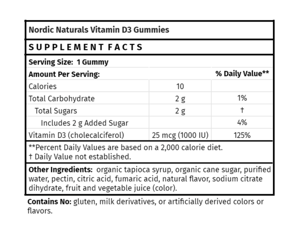 Vitamin D3 Gummies Nordic Naturals The Healthy Place Madison WI