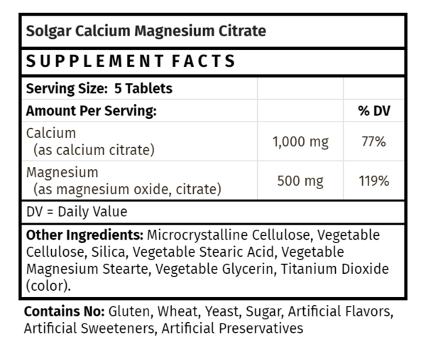 Solgar Calcium Magnesium Citrate magnesium supplements store madison wi the healthy place