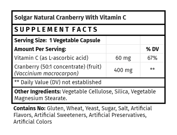 solgar natural cranberry with vitamin c madison wi the healthy place