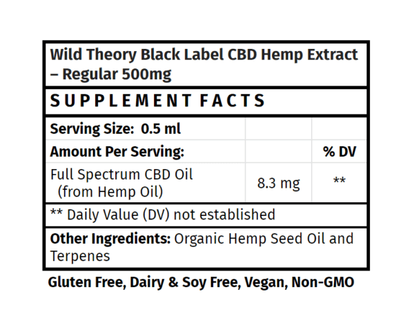 Wild Theory CBD Black Label Hemp Extract Regular 500mg 1floz