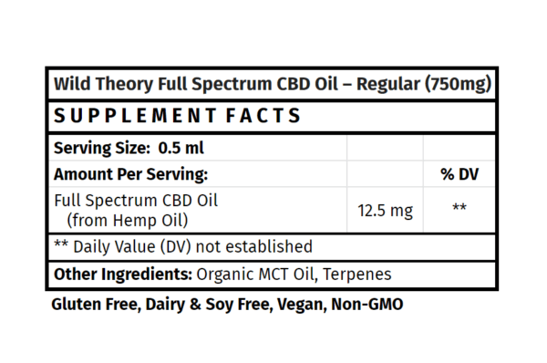 Wild Theory Full Spectrum CBD Oil 750mg 1oz