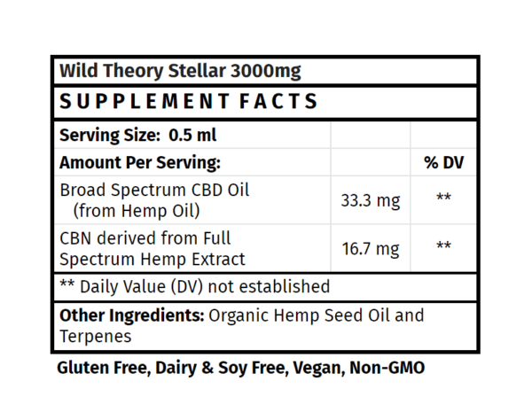 Wild Theory CBD Stellar CBD supplement cbd oil cbd 300mg cbd store madison wi the healthy place