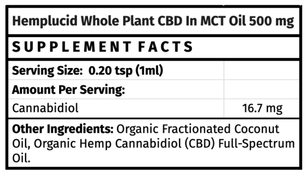 Hemplucid Whole-Plant CBD in MCT Oil The Healthy Place Madison WI