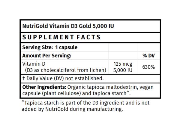 NutriGold Vitamin D3 Gold 5000IU 120 capsules
