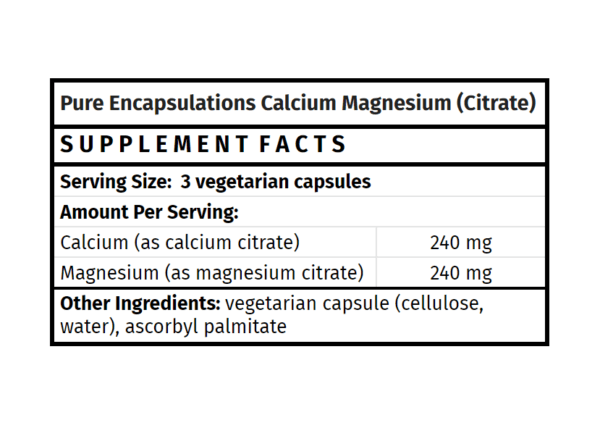 pure encapsulations calcium magnesium citrate malate the healthy place madison wi