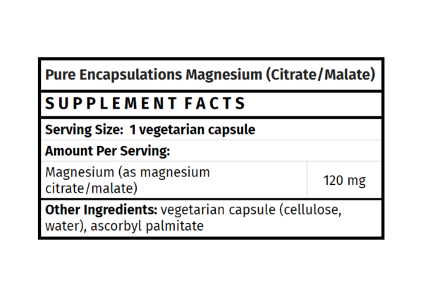 pure encapsulations magnesium (citrate / malate) the healthy place madison wi