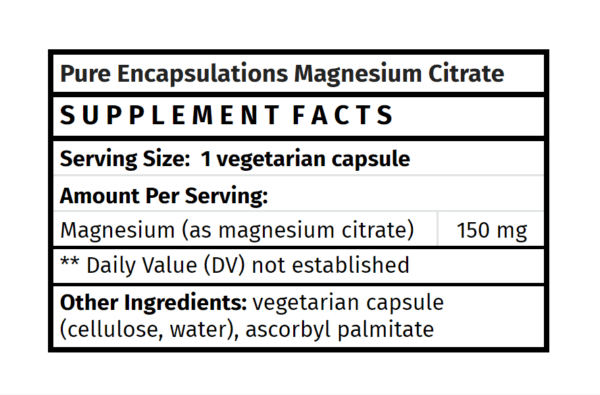 Pure Encapsulations Magnesium Citrate The Healthy Place Madison WI