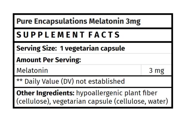 Pure Encapsulations Melatonin 3mg The Healthy Place Madison WI