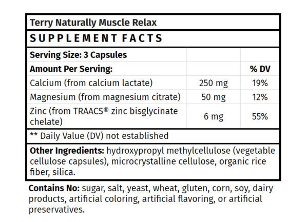 Terry Naturally Muscle Relax Supplement Facts