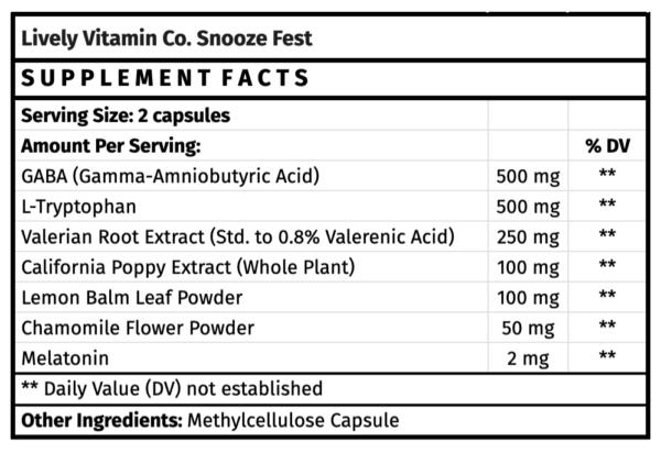 lively vitamin co snooze fest sleep supplement for sleep