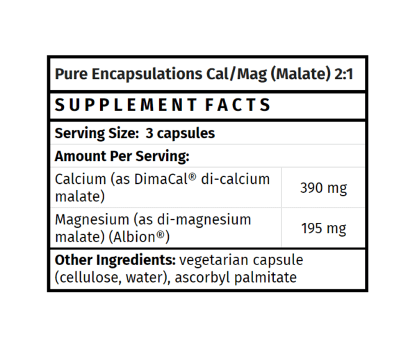 pure encapsulations cal/mag (malate) 2:1 calcium magnesium supplement madison wi