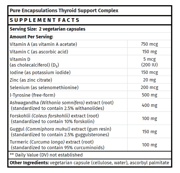 pure encapsulations thyroid support complex thyroid supplements madison wi